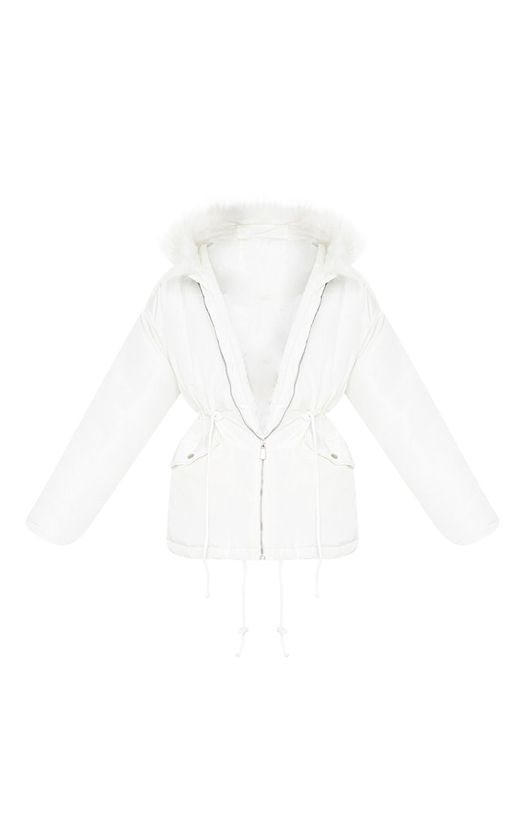 White Nylon Drawstring Waist Faux Fur Hooded Puffer Jacket 5