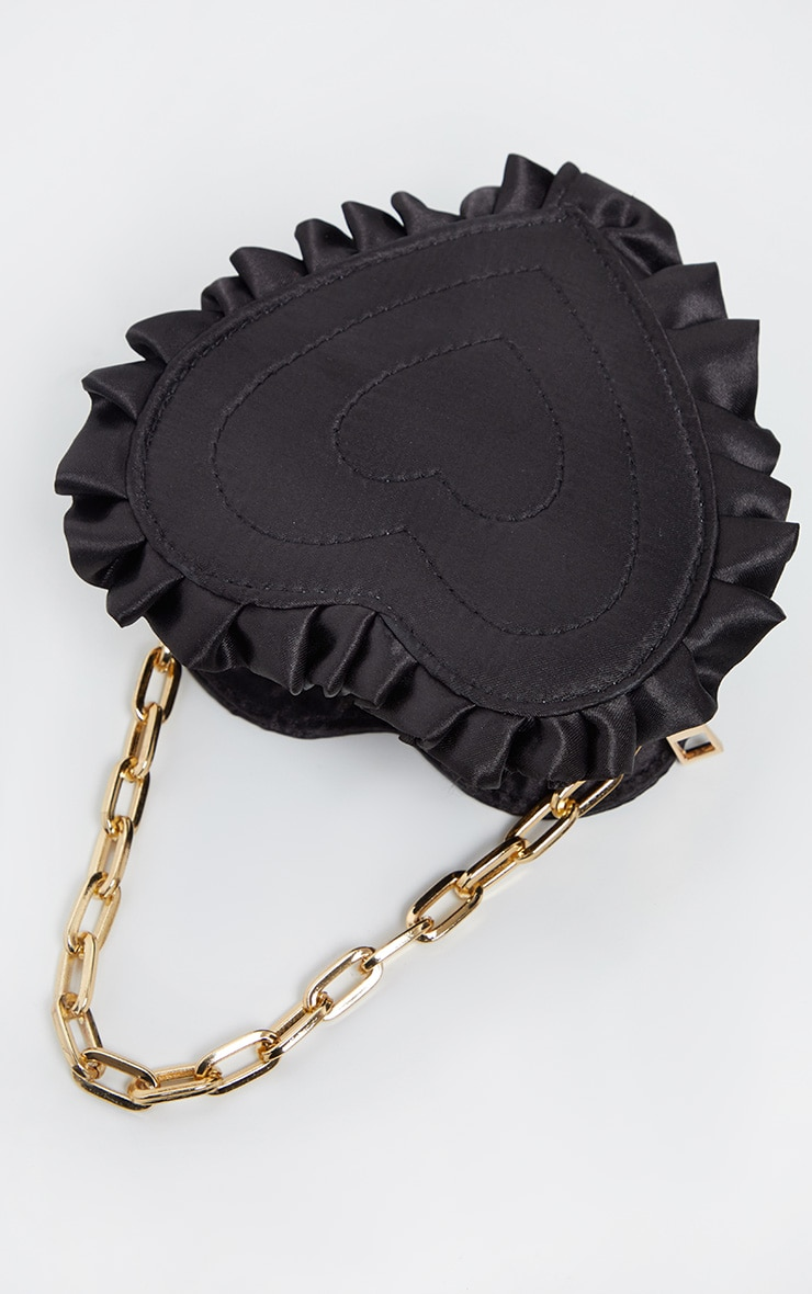 Black Satin Heart Mini Bag 2