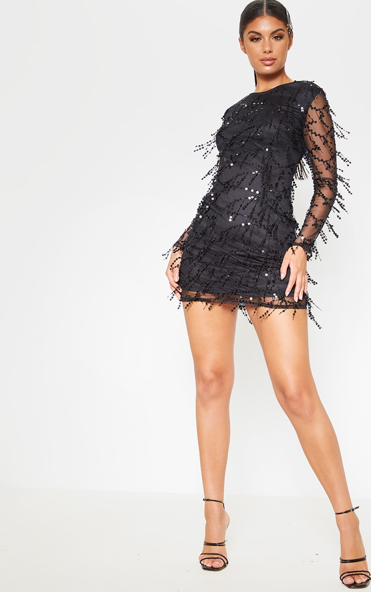Black Sequin Detail Long Sleeve Mini Dress 1