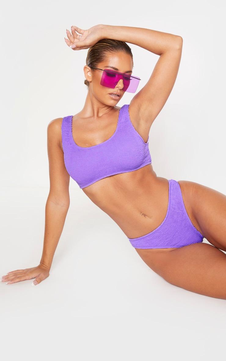 Purple Crinkle Scoop Neck Bikini Top 1