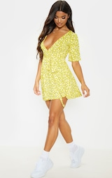 Yellow Ditsy Floral Wrap Tea Dress 1