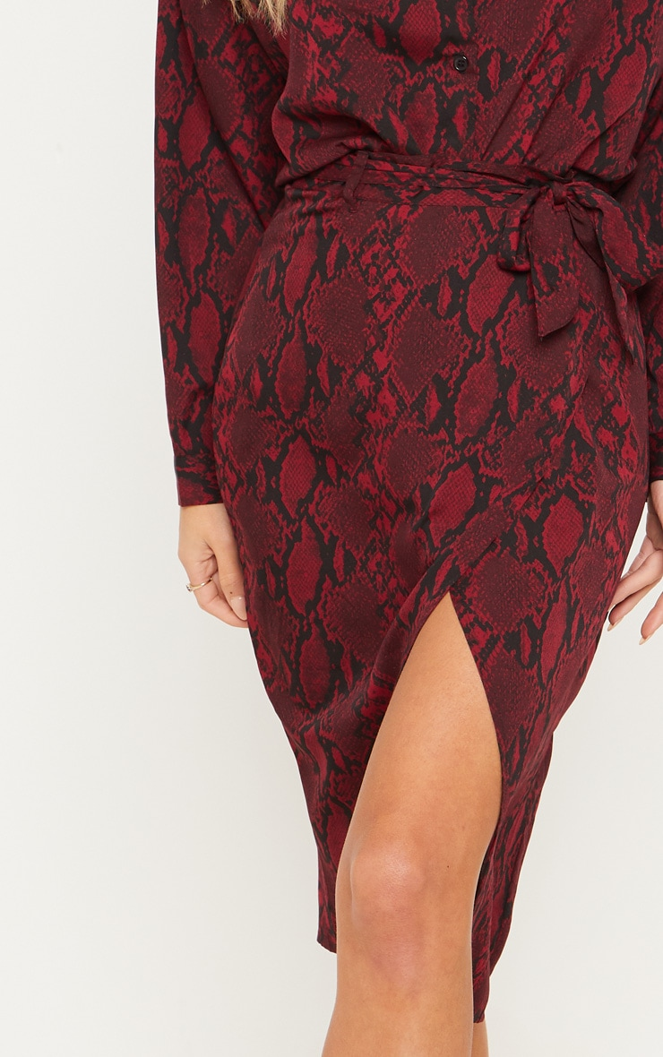 Burgundy Snake Print Belted Wrap Midi Skirt  5