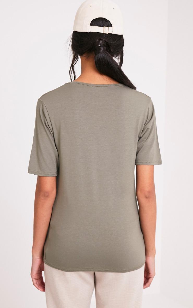 Basic Khaki V Neck Loose T Shirt 2