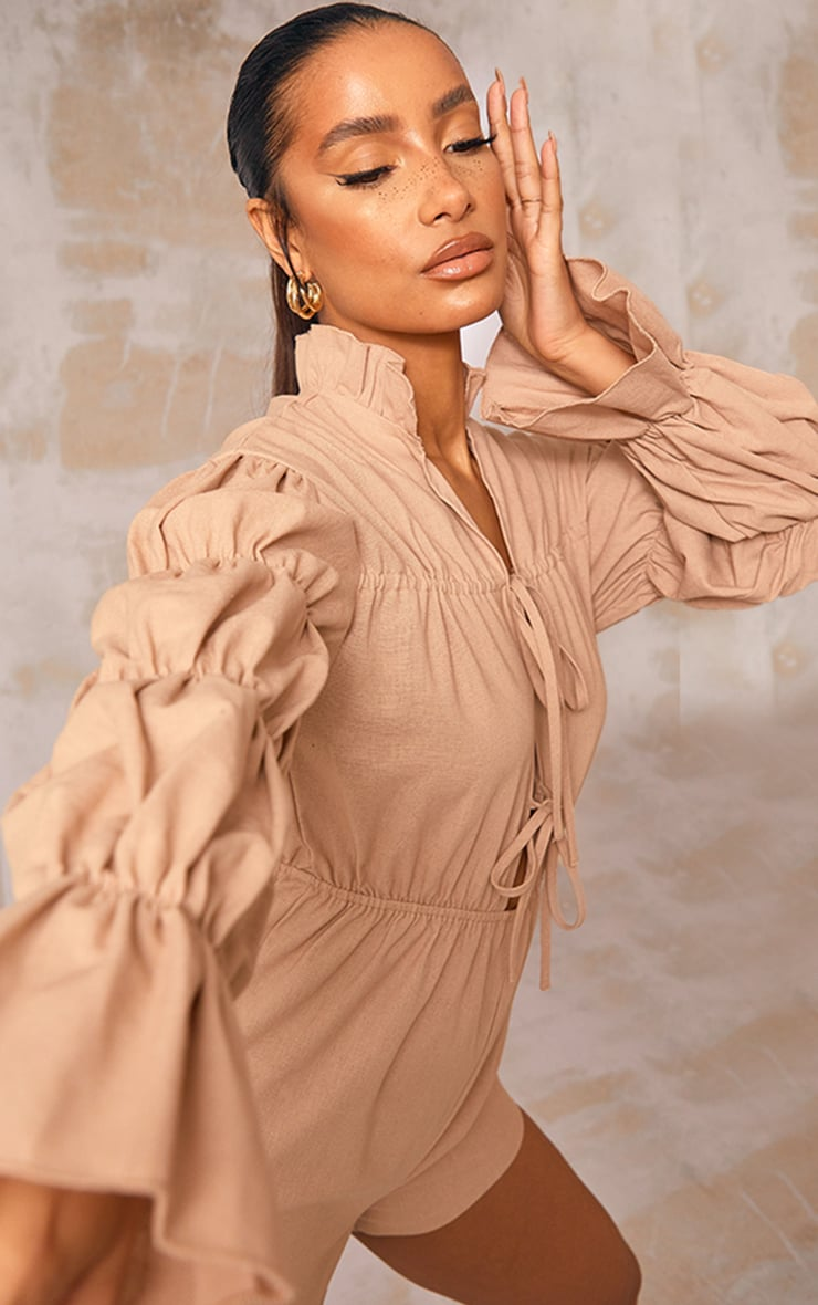 Stone Linen Look Lace Up Tiered Sleeve Romper 4