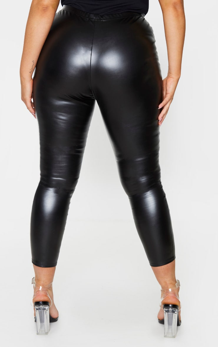 Plus Black Faux Leather High Waisted Leggings 3