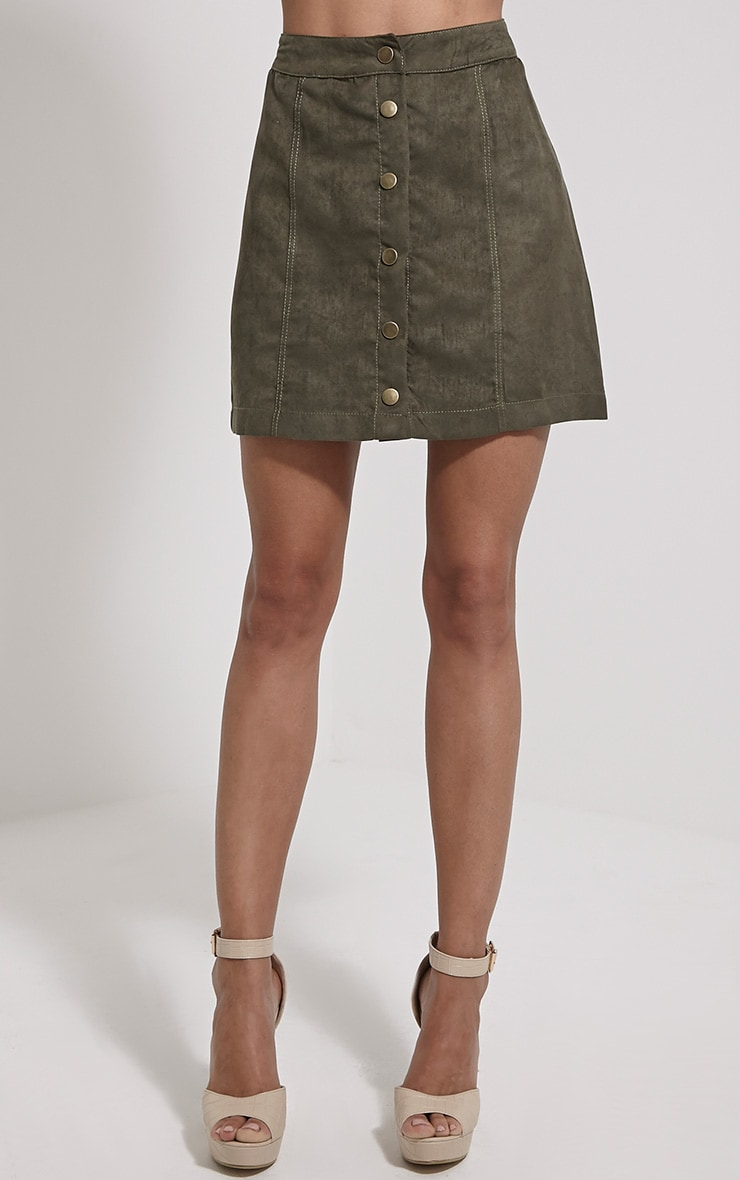 Cheryl Khaki Faux Suede Button Front Skirt 2