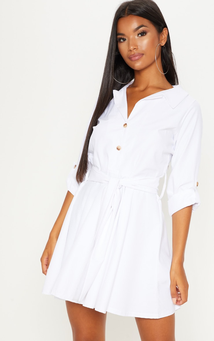 White Tortoise Shell Button Front Shirt Dress 1