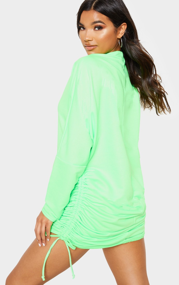 Neon Green High Neck Ruched Side Jumper Dress 2