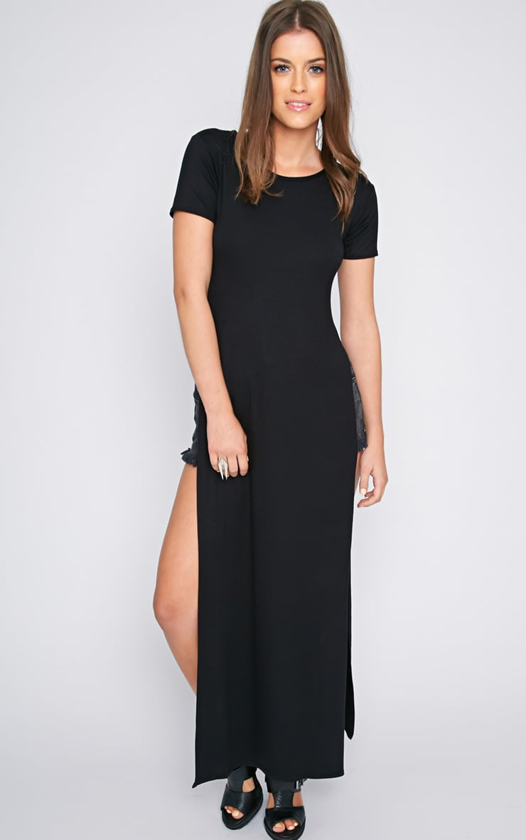 Allie Black Extreme Split Tshirt Dress 1