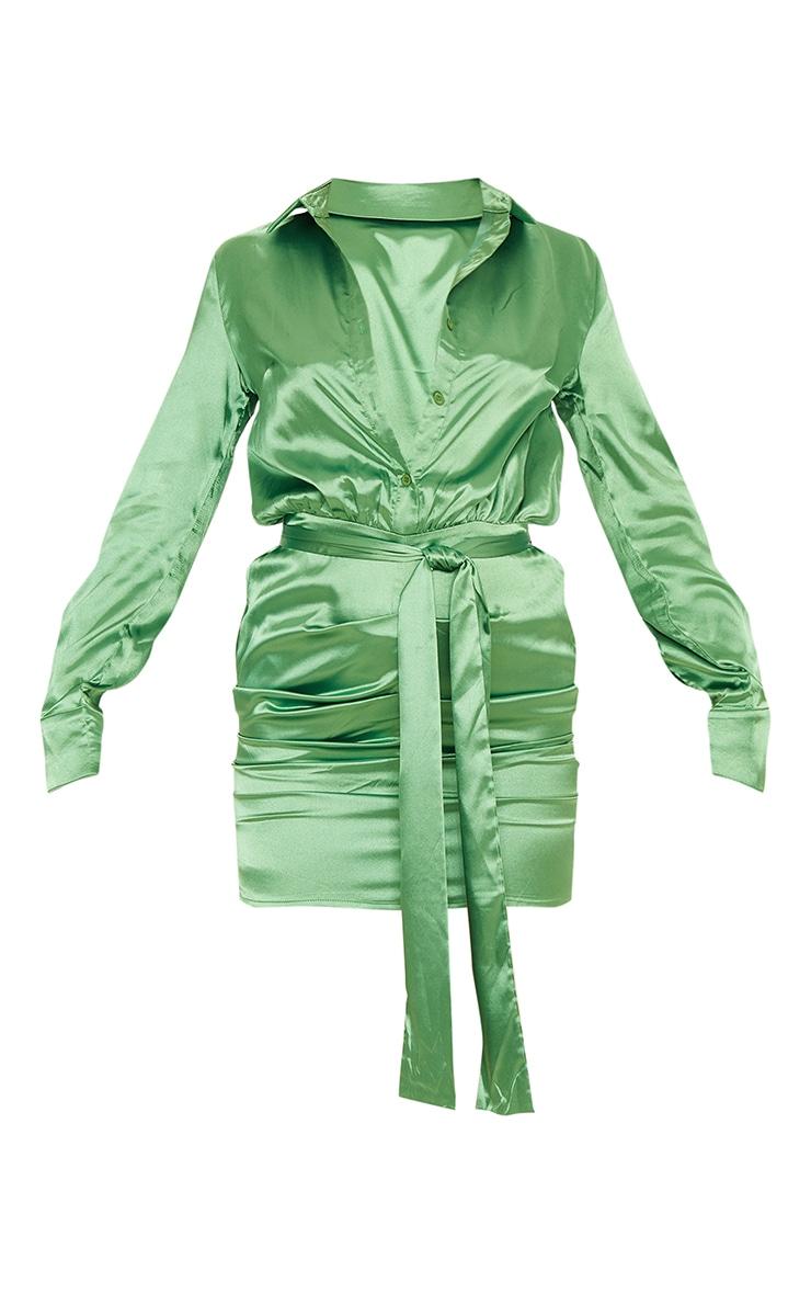 Green Satin Ruched Shirt Dress 5