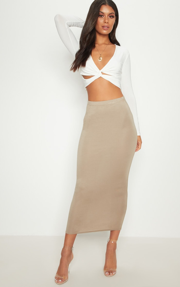 White Slinky Twist Front Long Sleeve Crop Top 4