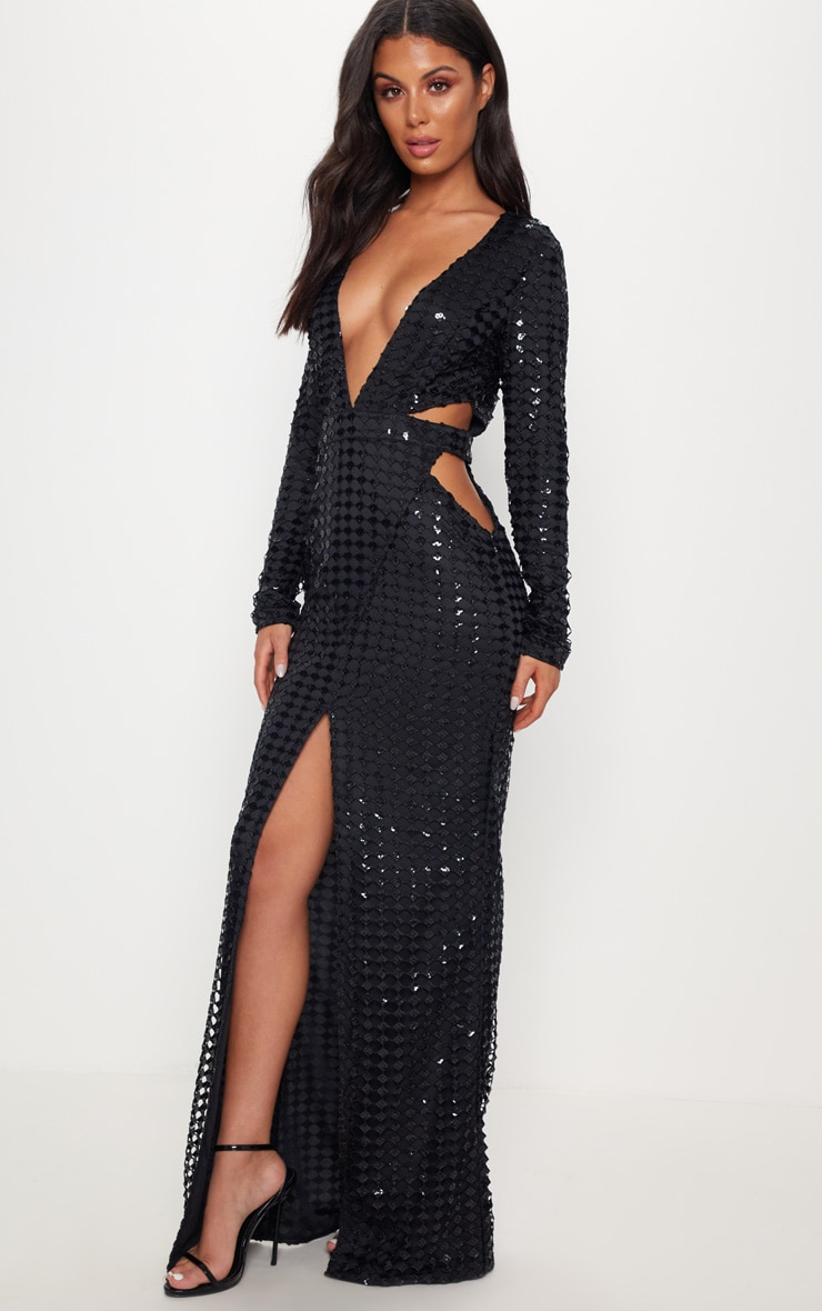 Black Metallic Detailed Cut Out Plunge Maxi Dress 4