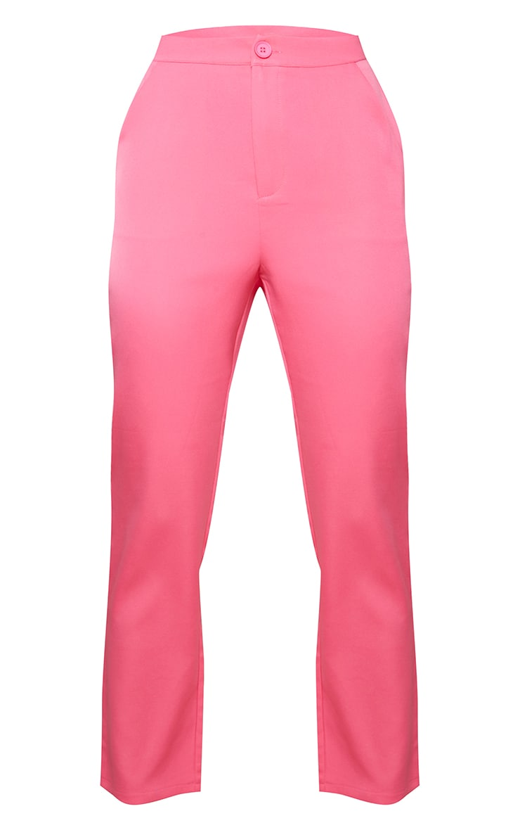 Hot Pink Woven Pocket Detail Cigarette Trousers 5