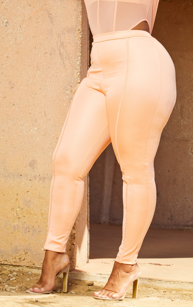 Plus Peach Second Skin Piping Detail Skinny Trousers 5