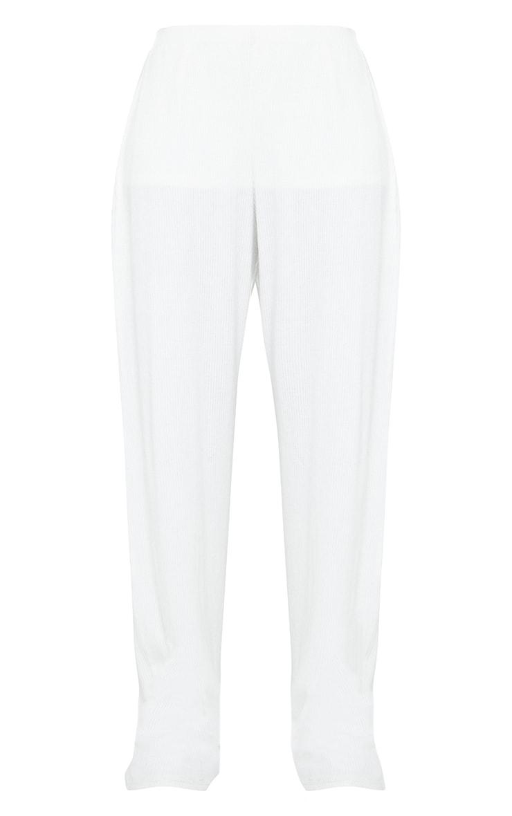 Cream Brushed Rib Wide Leg Trousers 5