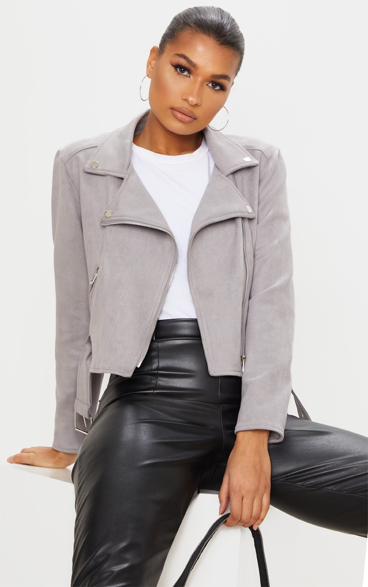 Grey Faux Suede Biker Jacket 1