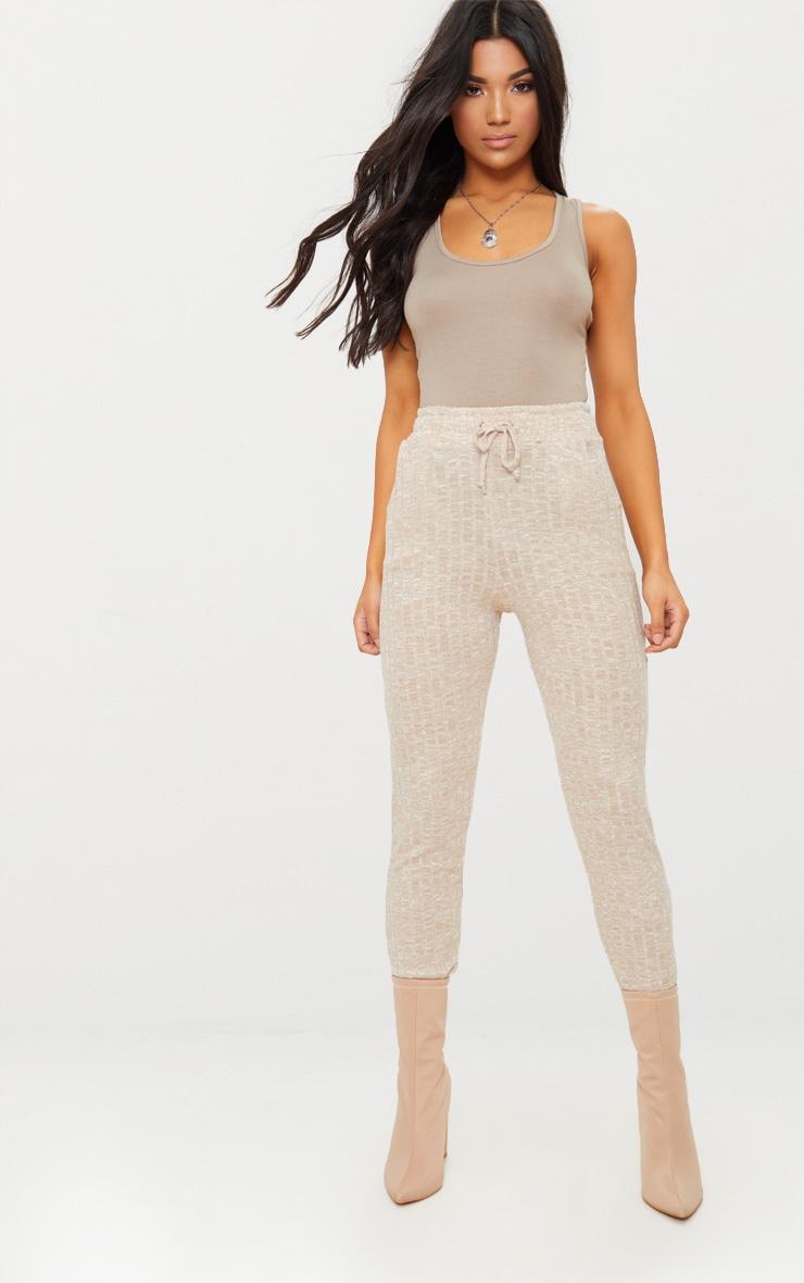 Pantalon de jogging en maille côtelée gris pierre 1