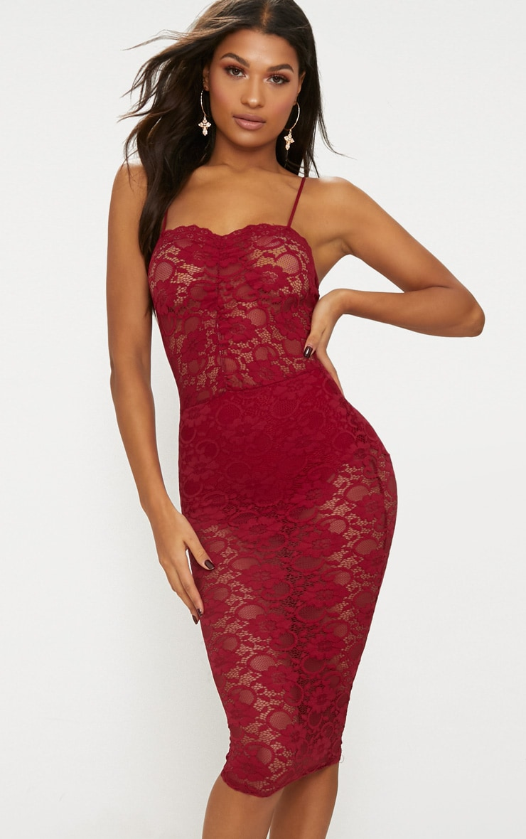 Burgundy Lace Ruched Midi Dress 1