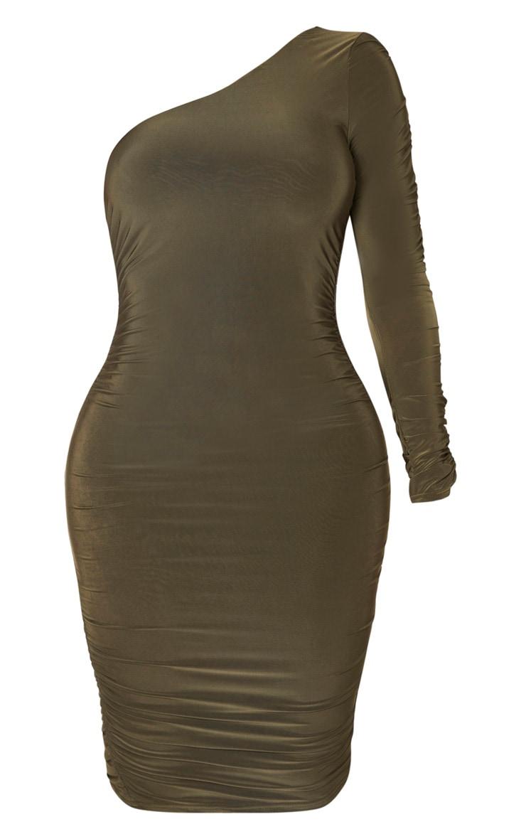 Shape Khaki Slinky One Sleeve Ruched Midi Dress 3