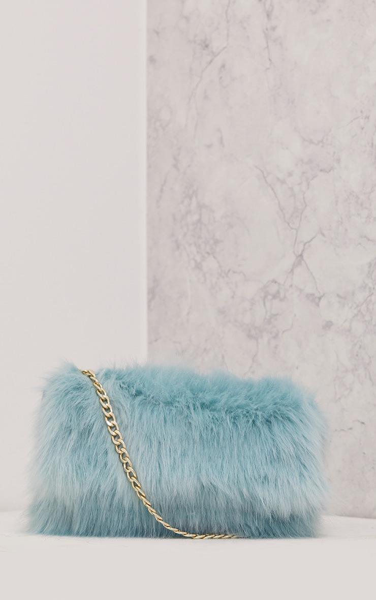 Kylah Ice Blue Faux Fur Clutch Bag 2