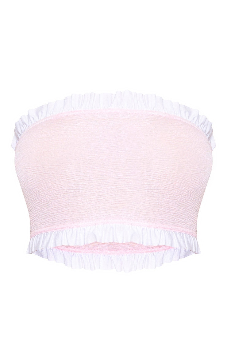 Baby Pink Crinkle Frill Bandeau Top 3