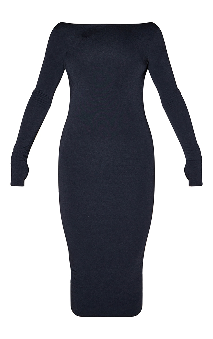 Recycled Black Contour Jersey Long Sleeve Thumb Hole Scoop Back Midaxi Dress 5