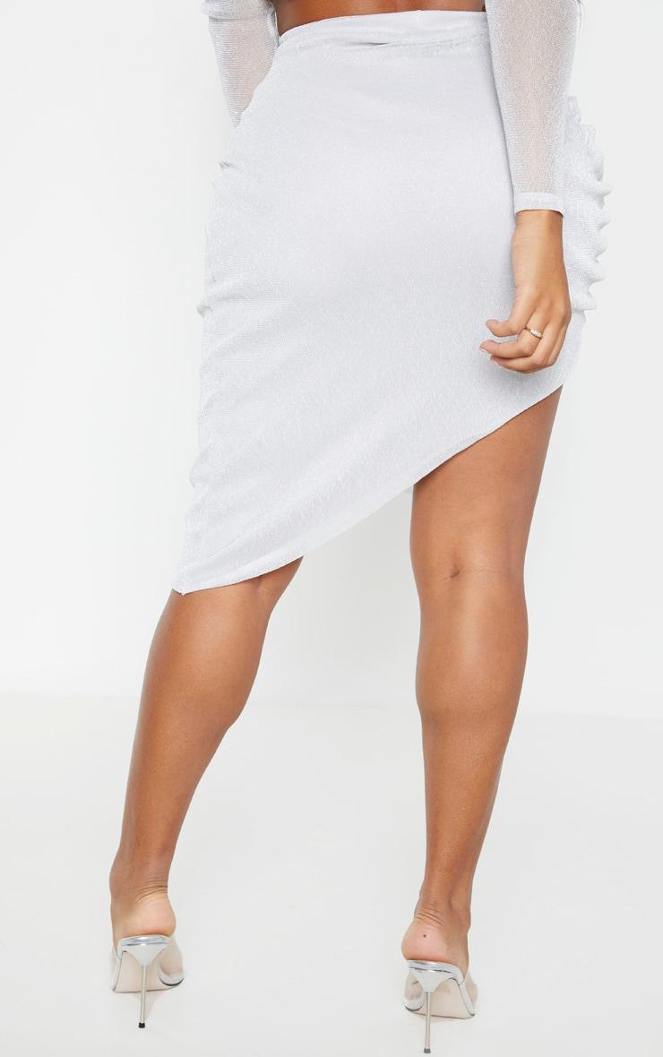 Shape - Jupe moulante froncée argentée en maille métallisée transparente  5