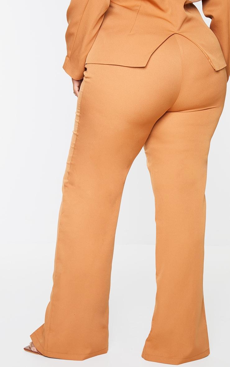 Plus Camel Seam Front Woven Split Hem Trousers 3