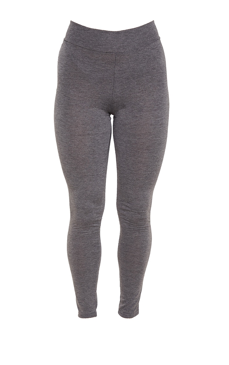 Basic Charcoal Grey High Waisted Jersey Leggings 1