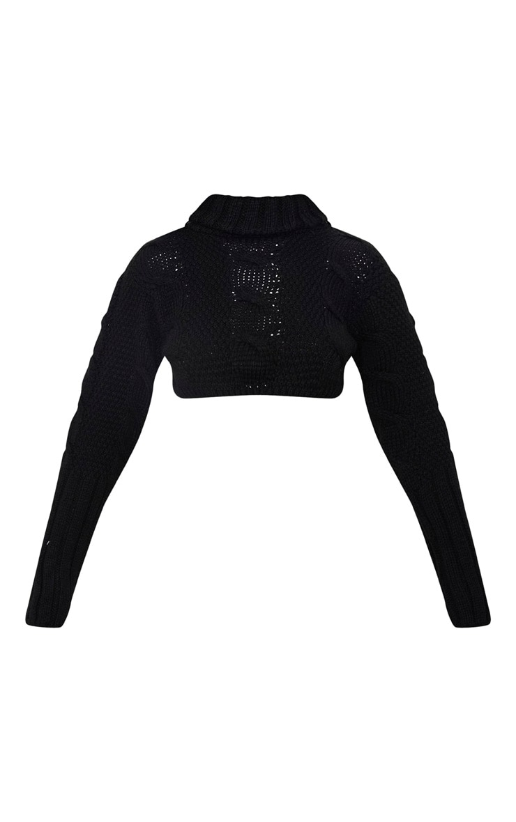 Black Extreme Cropped Roll Neck Jumper 3