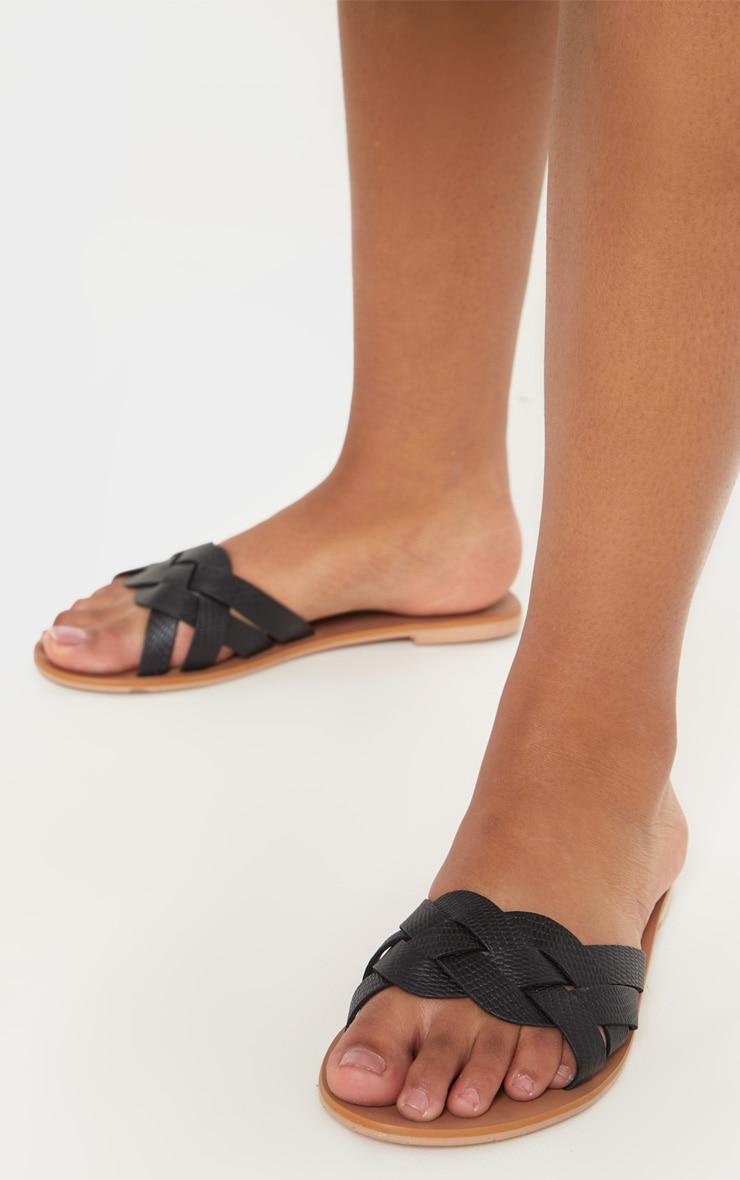 Black Platted Mule Sandal 2