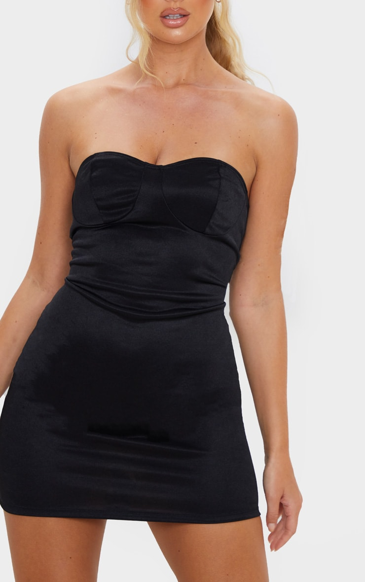 Black Shimmer Slinky Bandeau Bodycon Dress 5