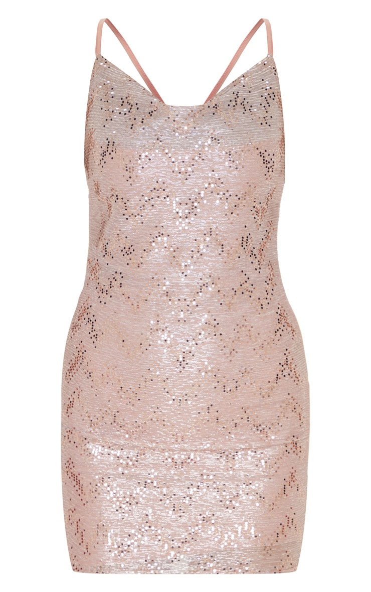 Dusty Pink Glitter Sequin Detail Strappy Cowl Neck Bodycon Dress 3