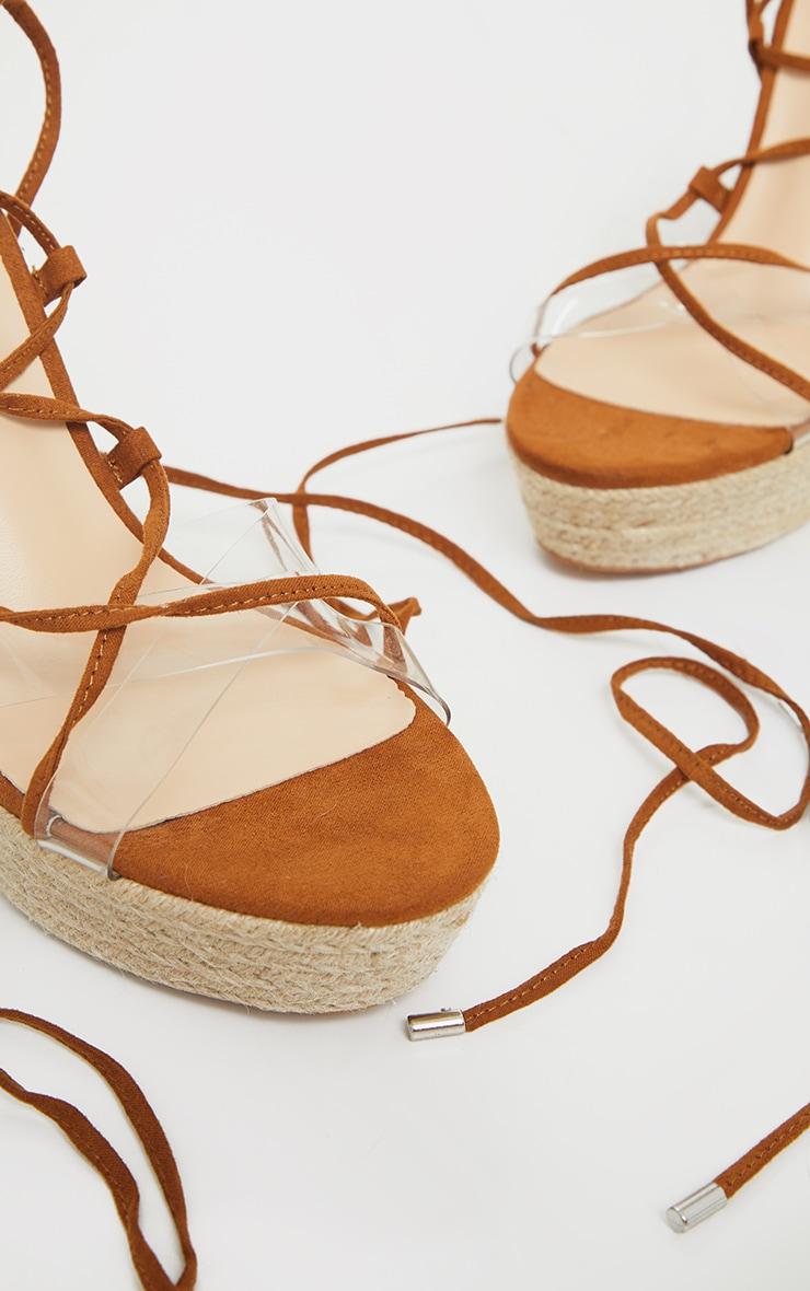 Tan Espadrille Platform Ghillie Lace Up Sandals 4