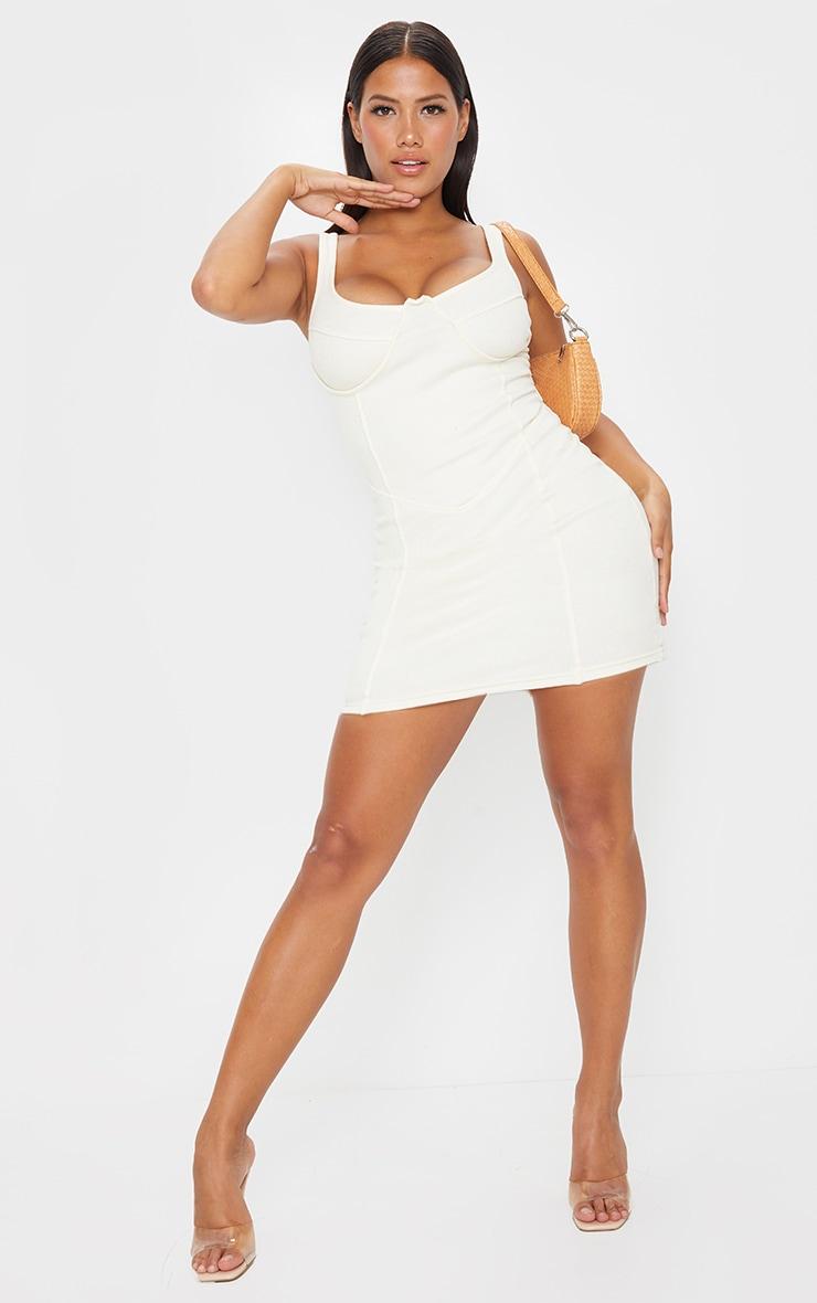 Shape Cream Thick Rib Corset Detail Strappy Bodycon Dress 3