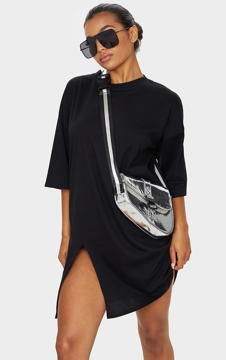 Black Split Oversized Boyfriend T Shirt Dress 1