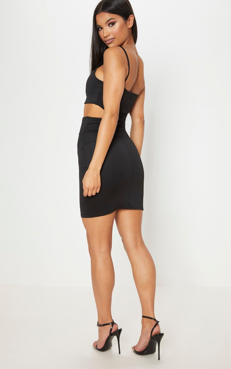 Black Strappy Cut Out Curve Waist Bodycon Dress 2