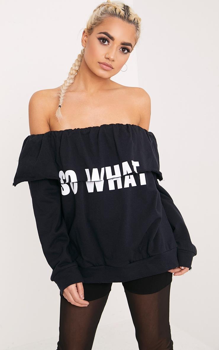 SO WHAT Slogan Black Bardot Oversized Sweater 1