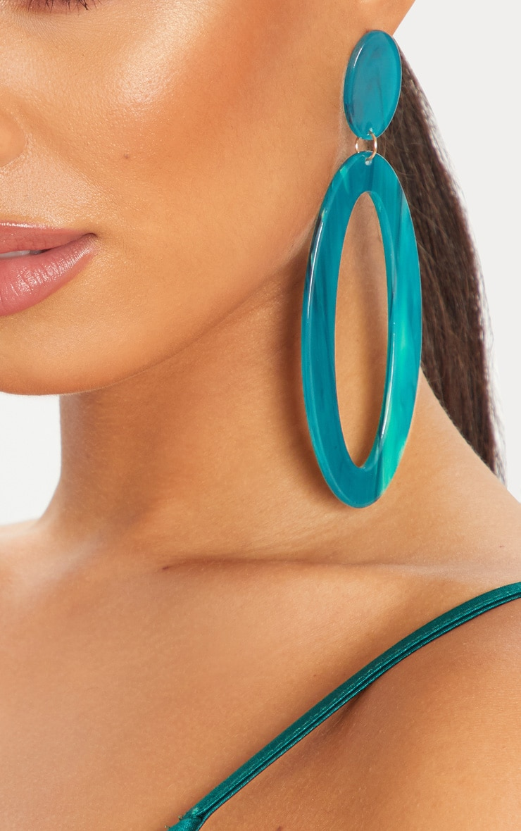 Blue Tortoiseshell Large Oval Hoop Earrings