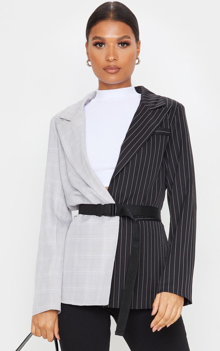Black Pinstripe Contrast Dad Blazer 1