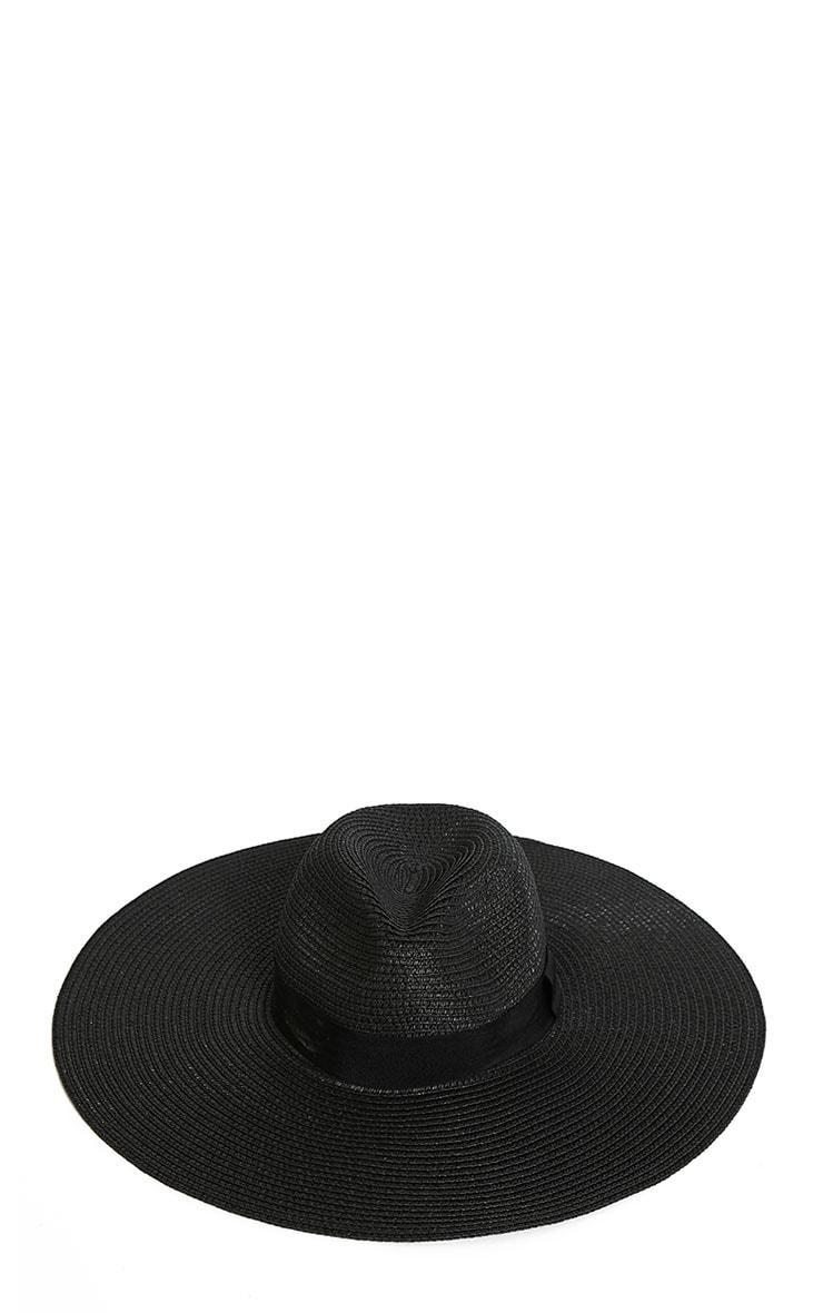 Zinnia Black Oversized Straw Fedora Hat 3
