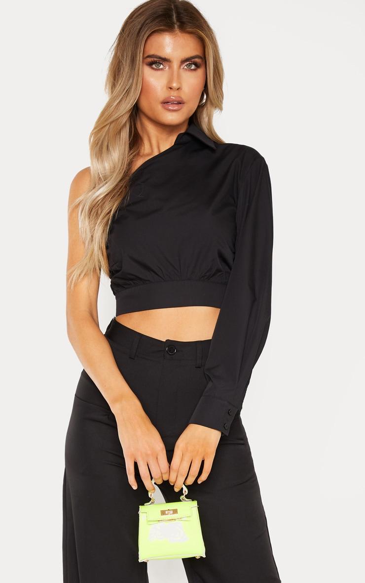 Tall Black Asymmetric One Sleeve Cropped Shirt Top 1