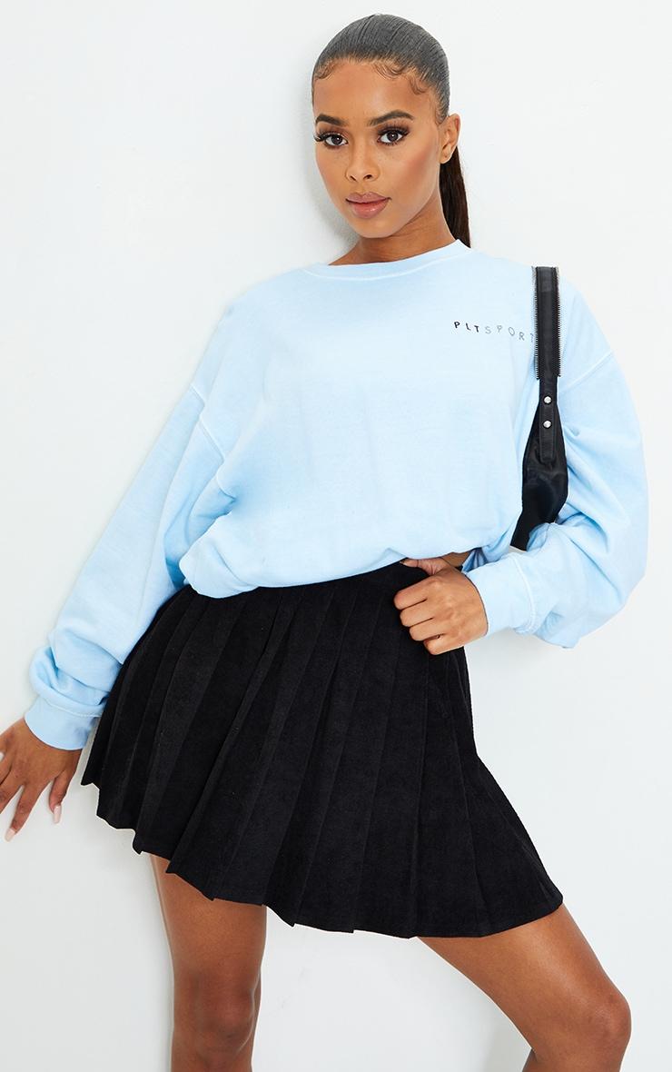 Black Cord Pleated Skater Skirt 1