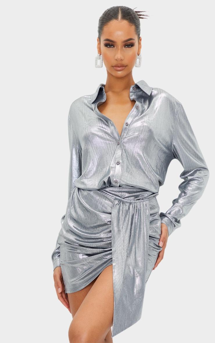 Silver Metallic Button Front Shirt 1