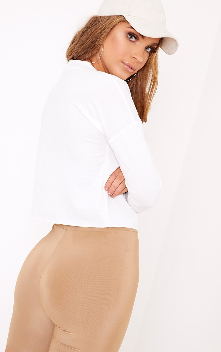 Ione White Ruched Crop Longsleeve Sweater 2