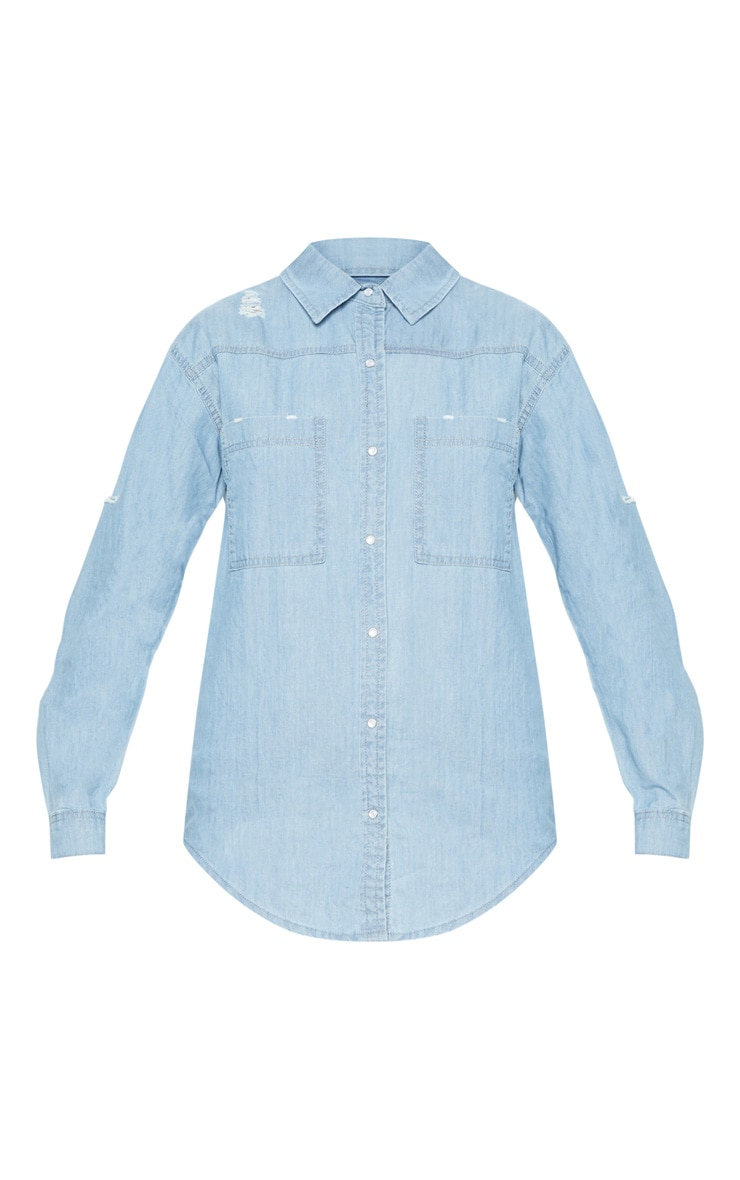Bleach Wash Oversized Lightweight Denim Shirt 3