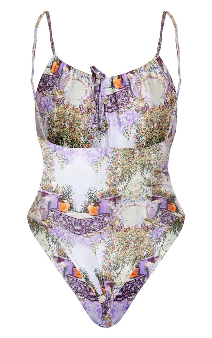 Purple Garden Scene Print Drawstring Ruched Swimsuit 6