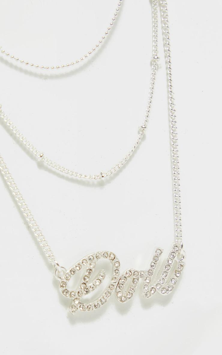 Silver Diamante Doll Layering Necklace 3
