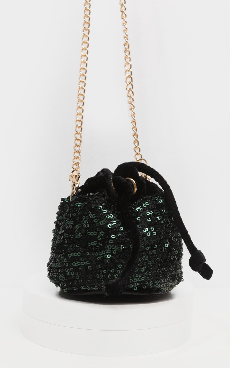 Green Sequin Mini Duffle Bag 3
