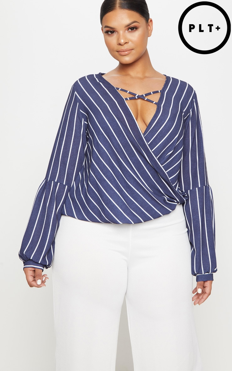 Plus Navy Striped Wrap Front Blouse  1